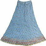 Light Blue Crinkle Long Skirt