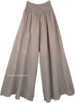 Earth Tone Wide Leg Cotton Palazzo Pants with Shirred Waist