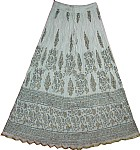 White Crinkle Summer Long Skirt