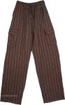 Green Black Trousers with Pockets Cotton Striped Unisex Boho Pants