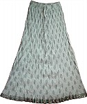White Silver Crinkle Long Skirt