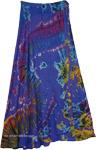 XXL Royal Blue Long Wrap Skirt with Marine Water Tie Dye