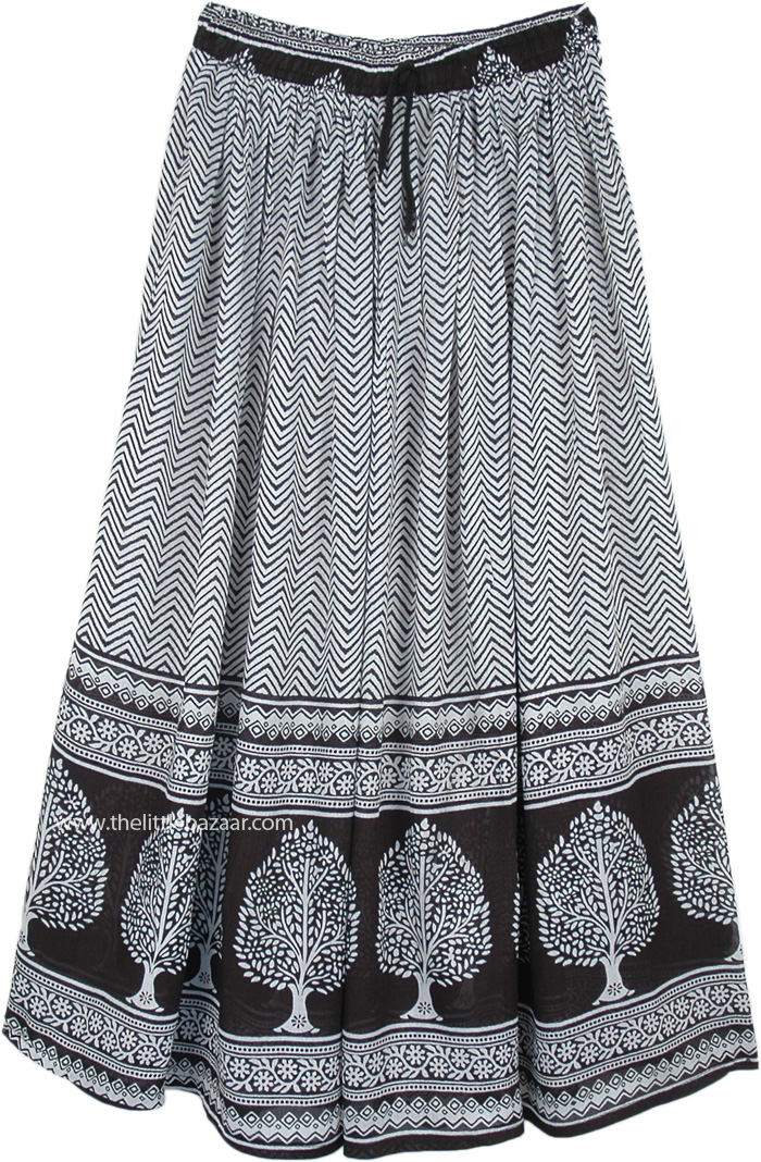 Black and White Rayon Long Skirt with Tree Print