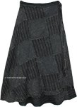 Plus Size Dark Grey Bohemian Patchwork Wrap Around Skirt