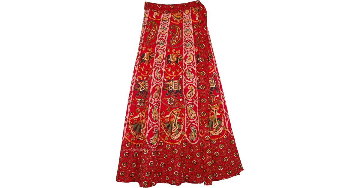 7ca2a4a8ff A Majestic Indian Elephant Print Skirt in Cotton | Red | Wrap-Around-Skirt,  XL-Plus, Misses, Maxi Skirt, Vacation, Beach, Floral, Printed, Elephant