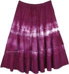 Mid Length Deep Purple Gypsy Skirt with Eyelet Fabric