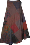 Deep Earth Tones Hippie Cotton Patchwork Wrap Around Skirt