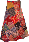 Haiti Colorful Hippie Cotton Patchwork Wrap Around Skirt