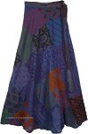 Wrap Around Skirt Long for Summer in Blue Purple