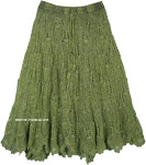 Stonewash Pickle Green Mid Length Cotton Western Skirt