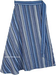 Blue Grey Striped Cotton Mid Length Wrap Around Skirt