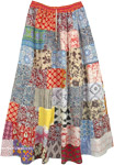 Summer Tones Hippie Patchwork Long Maxi Cotton Skirt