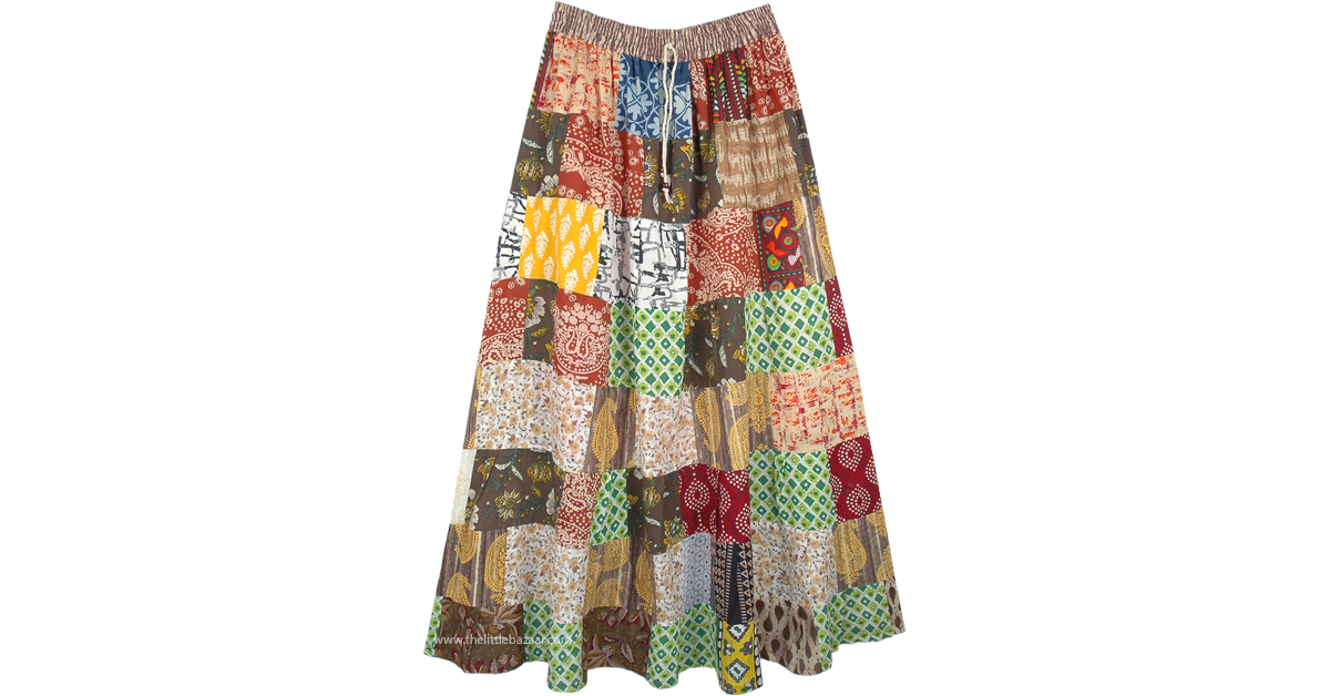 0b0ee1172e Cotton Long Broomstick Patchwork Happy Hippie Maxi Skirt | Multicoloured |  Patchwork, Misses, Tiered-Skirt, Maxi-Skirt, Vacation, Beach, Floral,  Printed, ...