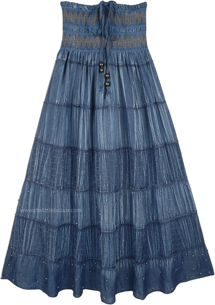 2a6f4ac881b2f Denim Blue Smocked Waist Long Tiered Skirt Dress with Beads