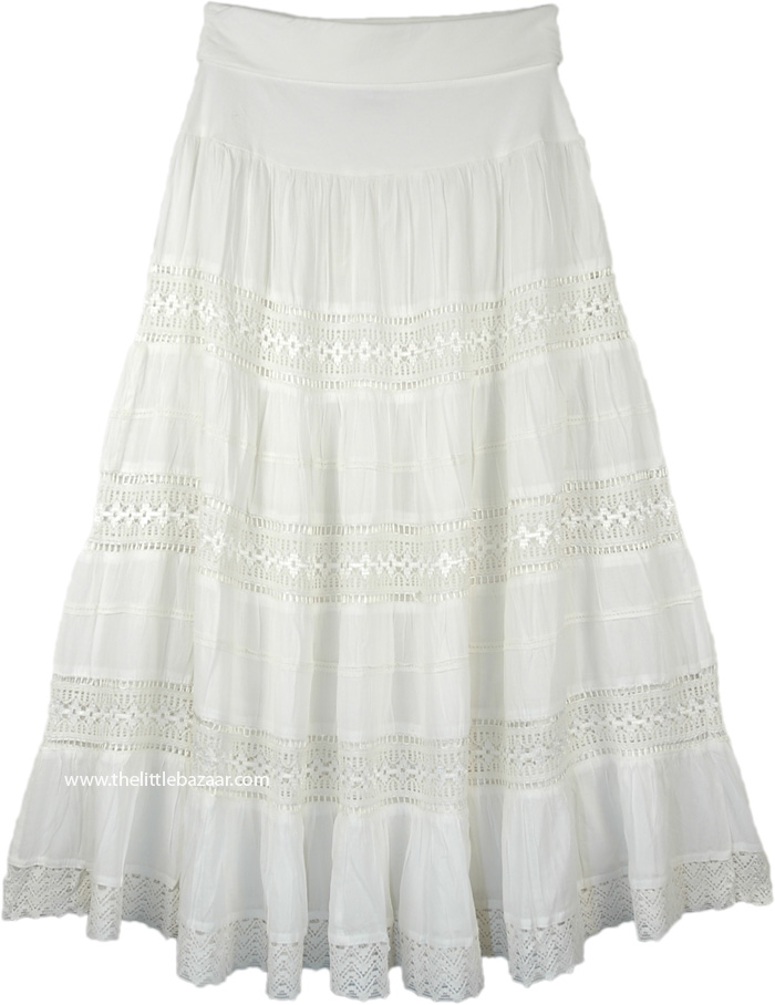 Dreamy White Flexible Yoga Waist Maxi Long Cotton Skirt