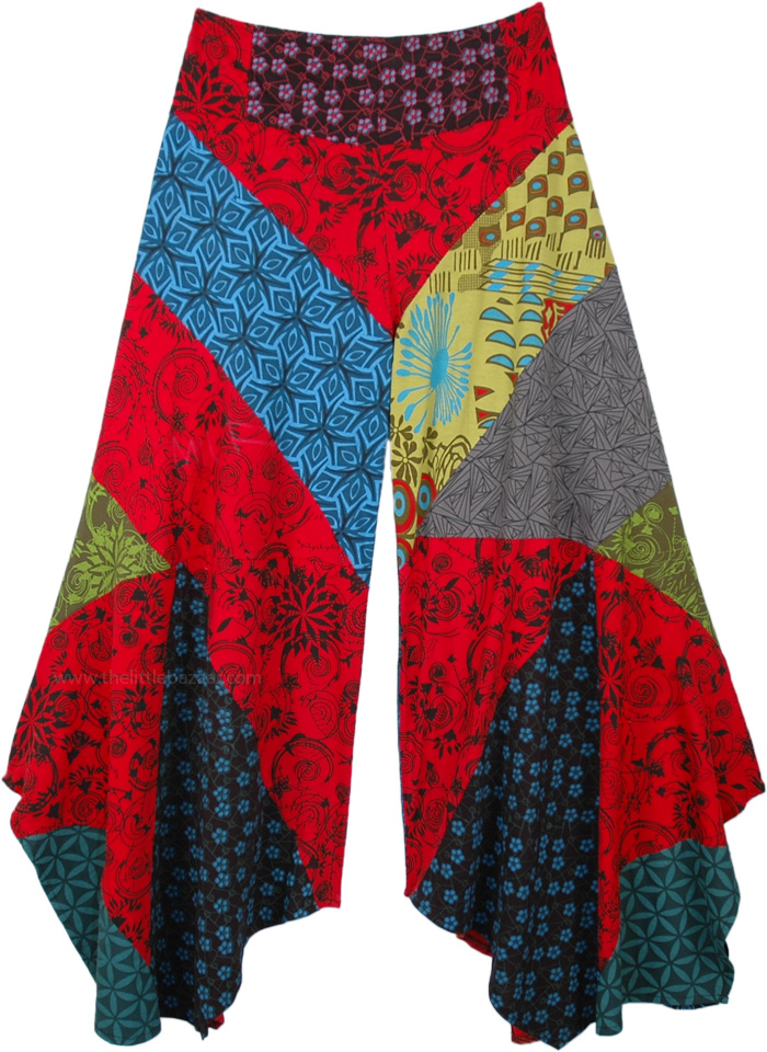 Mixed Patchwork Hippie Bell Bottom Palazzo Pants