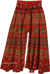 Boho Wide Leg Pants For Women Red Green Elephants Print