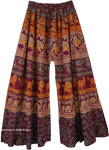 Purple Wide Leg Flared Cotton Palazzo Pants For Women