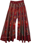 Wide Bottom Indian Pants In Deep Cherry Paisley Print