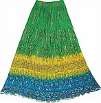 Crinkle Long Skirt Batik Print
