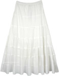 White Summer Cotton Flared Skirt with Gathered Tiers