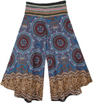 Royal Blue Mandala Capri Pants with Woven Waistband