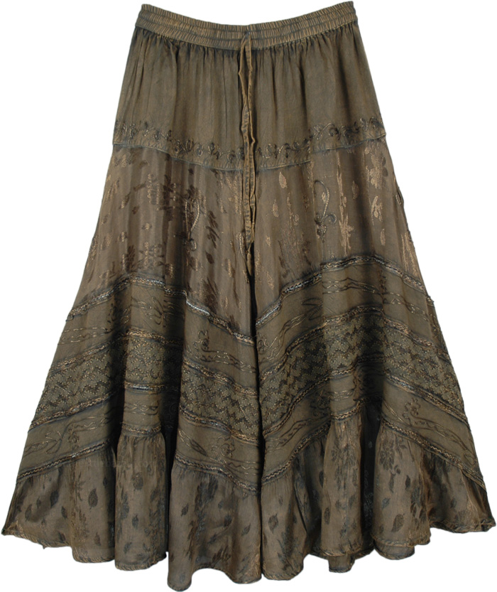 Millbrook Rayon Embroidered Western Skirt with Drawstrings
