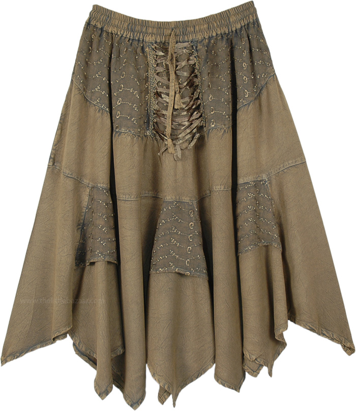 Dusky Olive Green Mid Length Handkerchief Hem Skirt