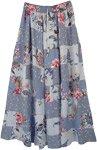 Dolphin Grey Floral Print Boho Patchwork Skirt