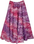 Lavender Pink Dreamy Waves Tiered Cotton Skirt