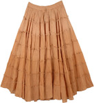 Tiered Harvest Brown Ombre Frills Peasant Skirt
