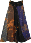 Earthen Tie Dye Patchwork Flowing Long Skirt