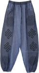 Blue Vertical Patchwork Woven Cotton Pants with Pockets