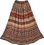 Ethnic Indian Floral Printed Rayon Long Skirt with Mirrors