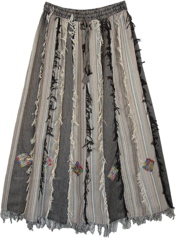 Grey Black Vertical Patchwork Skirt with Thread Fringes