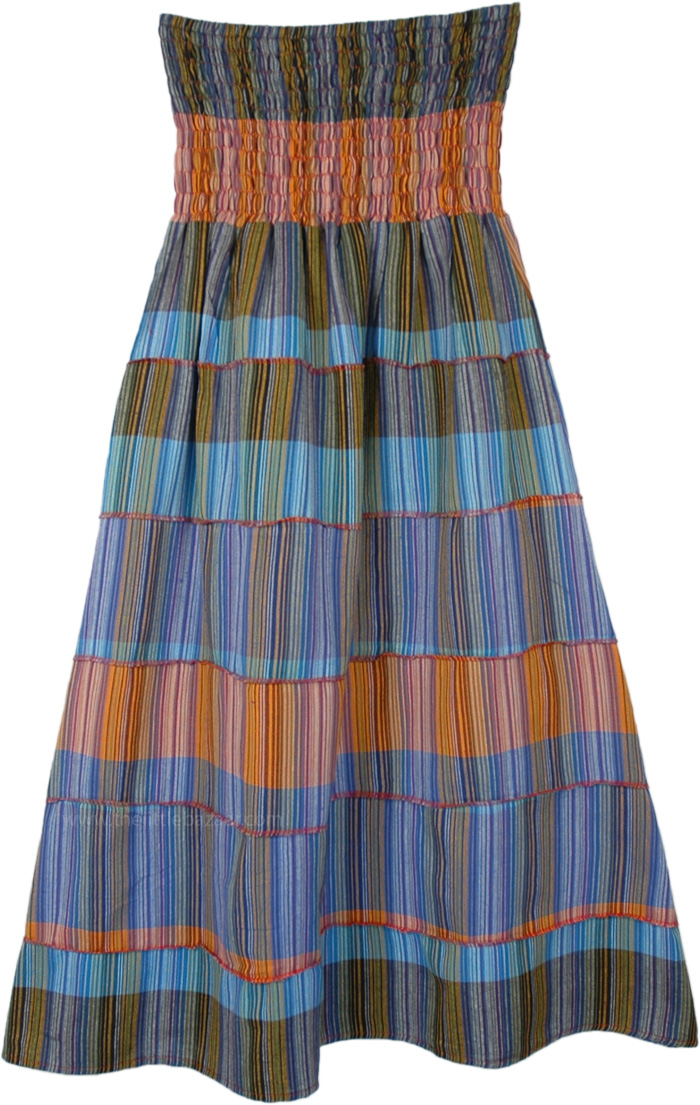 Blue Striped Tiered Cotton Skirt with Smocked Waist
