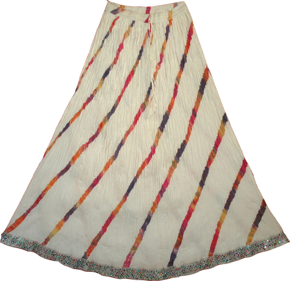 White Crinkle Tie Dye Long Skirt