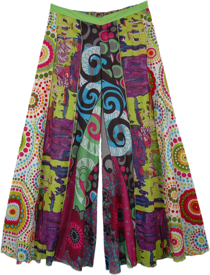 Patchwork Pattern Hippie Colorful Wide Legs Ankle Pants
