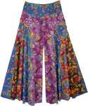 Flower Power Curved Patch Flared Wide Legs Pants