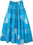 Blue Lagoon Printed Tiered Petticoat Cotton Long Skirt