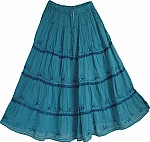 Blue Long Skirt with Lace