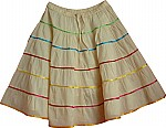 Cotton Short Skirt w/ Ribbon