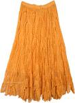 Subtle Saffron Crochet Long Skirt with Drawstrings