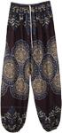 Deep Blue Printed Ankle Elastic Harem Pants