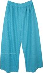 Ocean Blue Wide Straight Leg Embroidered Cotton Pants