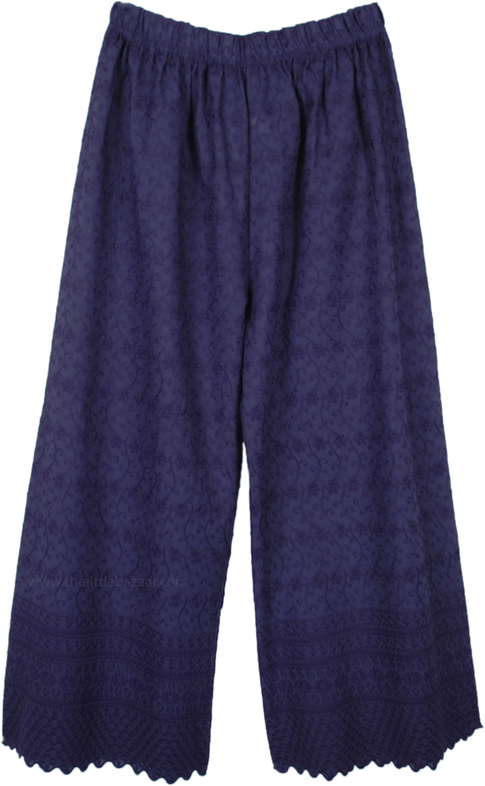 Indigo Ink Blue Wide Leg Embroidered Cotton Pants