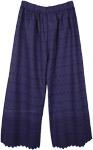 Indigo Ink Blue Wide Leg Embroidered Cotton Pants