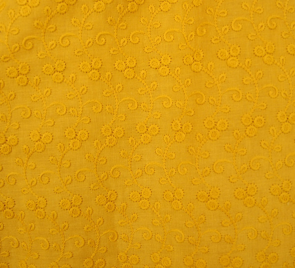 Turmeric Spice Wide Leg Cotton Pants with Embroidery