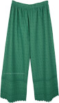 Pine Green Wide Leg Cotton Pants with Embroidery