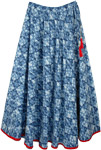 Blue Full Swirl Cotton Long Skirt